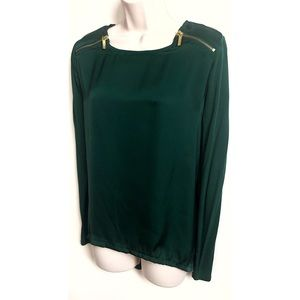 Michael Kors emerald green satin long sleeve top